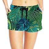 Seaside Beach Short for Women - Fine Leaves Tropical Leaves