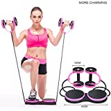 AUTUWT Abdominal Wheel Multi-functional Exercise Fitness AB Roller Wheel for Abdominal Exercise Fitness Pull Rope Twist Weight Training Exercise Equipment PINK