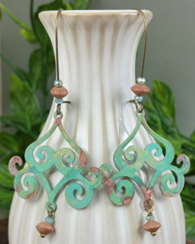 A Pair of Hand Patina Verdigris Brass Sc - Weathered Patina Crystal Beads Shopping Results