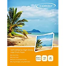 """Topcolor Self-Adhesive High Glossy Inkjet Photo Sticker Paper 8.5""""x11"""" (206 x 279 mm) for all Inkjet Printers (50 Sheets)"""