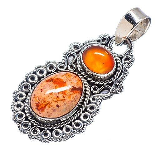 "Ana Silver Co Rare Mexican Fire Opal, Carnelian 925 Sterling Silver Pendant 1 3/4"""