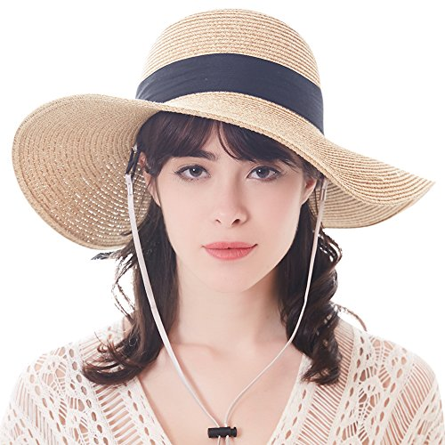FURTALK Sun Women Straw Hat UPF 50+ Beach Finshing Hats for Women Bucket Hat with Neck Cord (Beige, Enlarge)