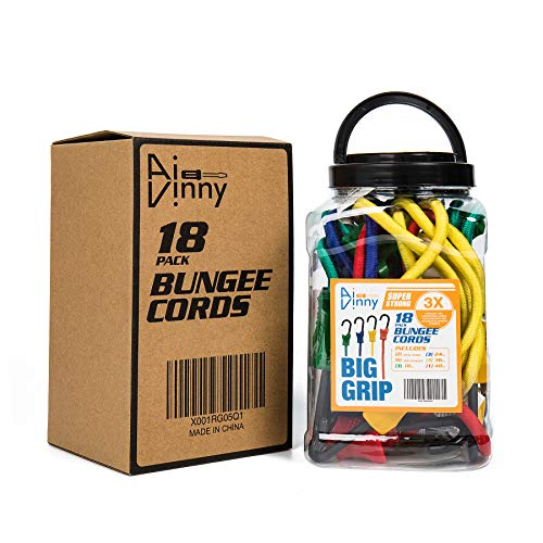 18 Piece Heavy Duty Bungee Cords with Hooks - Includes 10
