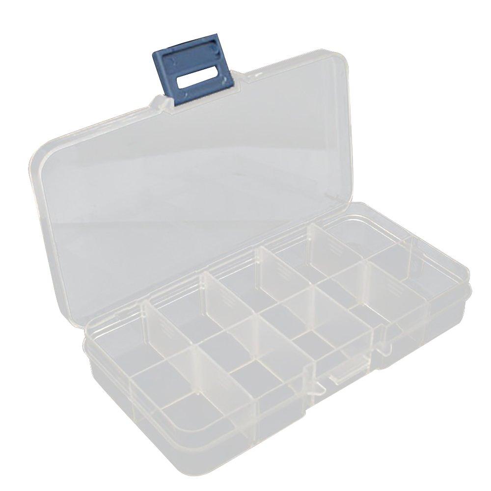 URIJK Transparent Aufbewahrungsbox Sortierbox Sortimentsboxen Einstellbar Fä cher fü r die Schmuck Perlen und andere Mini Waren Sortierkä sten Schmuckschatulle Werkzeugcontainer