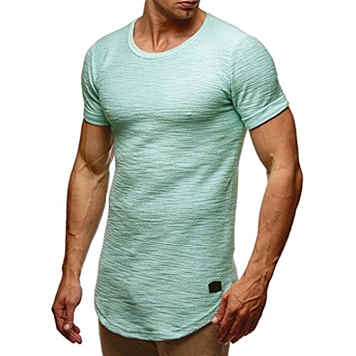 iOPQO T-Shirt for Men, Slim fit O Neck Short Sleeve Muscle Cotton Casual Blouse