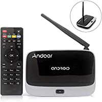 Andoer CS-918T Smart Android 4.4 TV Box Rockchip RK3128 Quad Core ARM Cortex A7 1.3 GHz 2G / 16G H.265 XBMC DLNA Miracast Airplay WiFi Bluetooth 4.0 OTG External Antenna with Remote Controller US Plug
