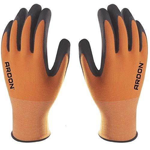 PETRA PROTECTION guantes de trabajo, alta calidad, nylon recubiertos con espuma de latex duradera y flexible Jardineria, industria, agricultura, transporte (1 Par, Naranja, talla 9 L)