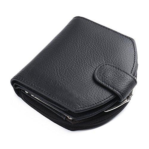 (G-zebra Womens Wallets RFID Blocking Leather Cute Zipper Card Wallet Small Coin Purse Black)