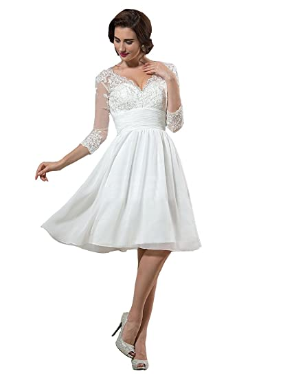 Irenwedding Womens V Neck Applique Lace Short Sleeves Knee