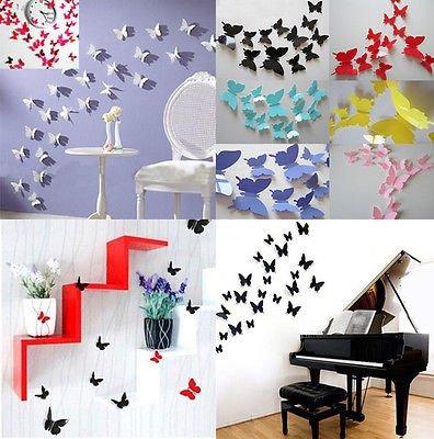 204 piezas de arte magnético diseño mariposas pared vinilo pegatinas. Paquete de 12 diferentes colores en 17 separados bolsas.