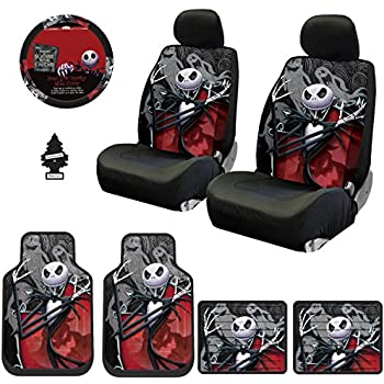 Yupbizauto New 12 Pieces Nightmare Before Christmas Jack Skellington Ghostly Car Truck SUV Seat Covers Floor Mat Set with Little Tree Air Freshener