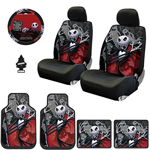 Yupbizauto New 12 Pieces Nightmare Before Christmas Jack Skellington Ghostly Car Truck SUV Seat Covers Floor Mat Set with Little Tree Air Freshener]()