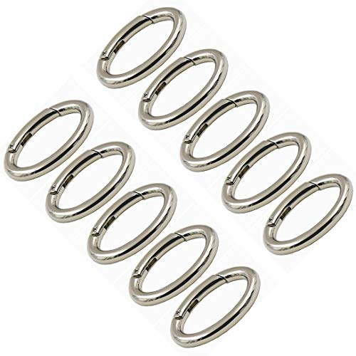 WEICHUAN 10PCS Zinc Alloy Oval Spring Clip Carabiner - Gate Oval Ring Carabiner Snap Clip Trigger Spring Keyring Buckle, Organizing Accessory/Metal Secure Holder/Durable and Rust-Proof (Silver)