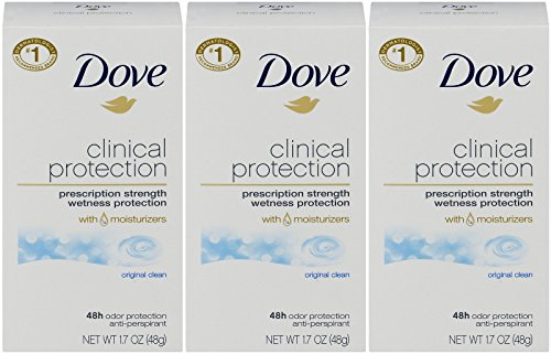 Dove Clinical Protection Antiperspirant Deodorant, Original Clean, 1.7 Oz (Pack of 3)