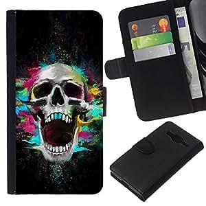 All Phone Most Case / Oferta Especial Cáscara Funda de cuero Monedero Cubierta de proteccion Caso / Wallet Case for Samsung Galaxy Core Prime // Skull Neon Scream Teeth Skeleton Colorful