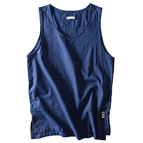 FEDULK Plus Size Men's Cotton Vest Tank Tops Solid Color Breathable Sleeveless Loose Tees Blouse(Navy, XXX-Large)