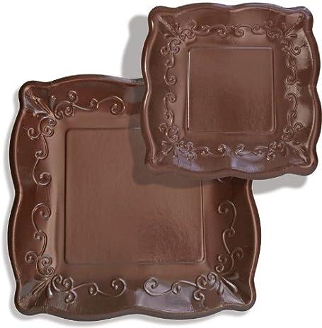 8-Count Elise Scalloped Embossed 7\u0026quot; Square Premium Paper Plates Cocoa Bean  sc 1 st  Amazon.com & Amazon.com: 8-Count Elise Scalloped Embossed 7\