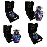 Cosmic Universe Brass Metal Funeral Cremation Urn for Human Ashes - Extra Large, Large and Small (Set of 4)