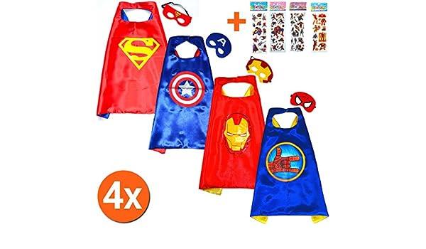 Super Héroes de disfraces para niños Cape and Mask - Juguete verk sufren & Disfraces niña Fasching o temática de fiestas.
