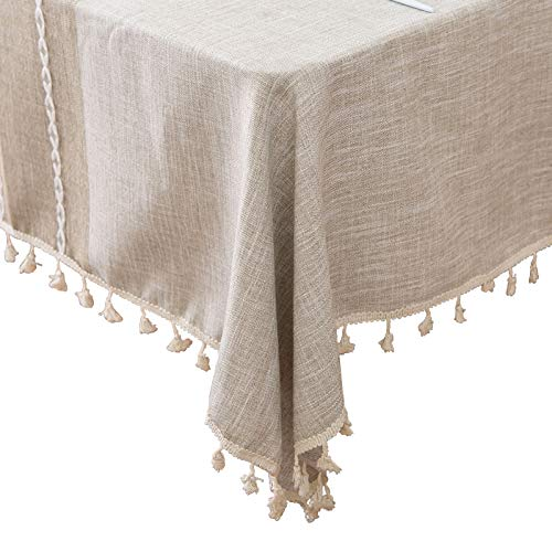 (famibay Oblong Tablecloth 55 x 70 Decoration Elegant Cotton Linen Table Cloth with Tassel Edge Dust-Proof Washable Kitchen Table Cover for Dining Table(Linen))