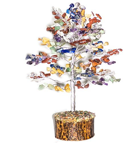 Crocon Natural Healing Gemstone Crystal Bonsai Fortune Money Tree for Good Luck, Wealth Health & Prosperity Spiritual Gift Size-10 INCH (Seven Chakra (Silver Wire))
