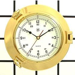 Bey-Berk International Brass Porthole Clock - Tarnish Proof
