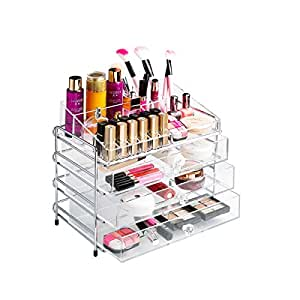 XL Transparent Clear 2/3/4/5 Tier Acrylic Cosmetic Makeup Lipstick Jewelry Torage One Drawer Organizer and Shelf with High Polished Stainless Steel Rack Holder XLA-035 (L, 4 Layers)
