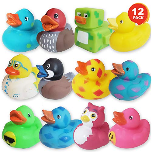 ArtCreativity Assorted Rubber Duckies for Kids and Toddlers – Pack of 12 Cute Duck Bath Tub Pool Toys in Multiple Characters, Fun Carnival Supplies, Birthday Party Favors for Boys and Girls