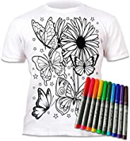 Splat Planet Butterflies T-Shirt with 10 Non-Toxic Washable Magic Markers - Color in and Wash Out and Color in
