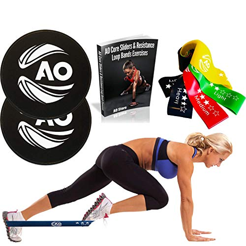 AO Premium Core Sliders and Resistance Bands With eBook - Dual-Sided Gliding Disc and Elastic Exercise Loop Bands as Workout Equipment for Home - Fitness Exercises to Strengthen Core, Glutes, and Abs by AO Store