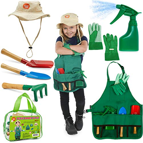 - Born Toys Kids Gardening Set, Kids Gardening Tools with rake, Kids Gardening Gloves and Washable Apron Set for Real or Sand Gardening and Dress up Clothes or Role Play