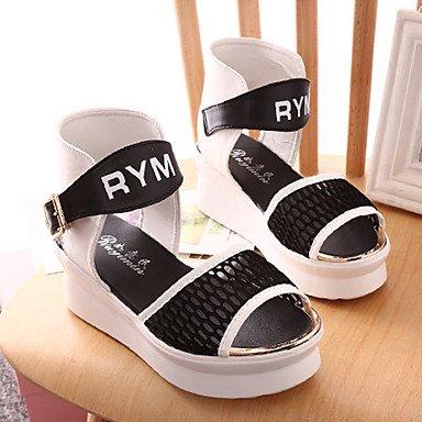 LvYuan Mujer-Tacón Plano Tacón Cuña-Confort Creepers-Sandalias-Exterior Vestido Informal-PU Tul-Negro Blanco Black