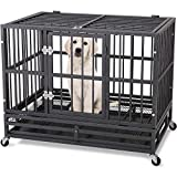 ITORI 36'' Heavy Duty Metal Dog Cage Kennel Crate and Playpen for Training Large Dog and Pet Indoor and Outdoor with Double Doors & Locks Design Included Lockable Wheels and Removable Tray