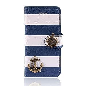 Internet Navy Streifen Anker Ruder Mappen-Schlag-Fall-Abdeckung für iphone 5...