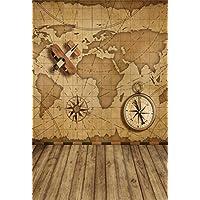 Vintage World Map Compass Wood Backdrop Laeacco 5x7ft Vinyl Thin Photography Background Vintage Wood Floor Backdrop,1.5x2.2m Studio Props