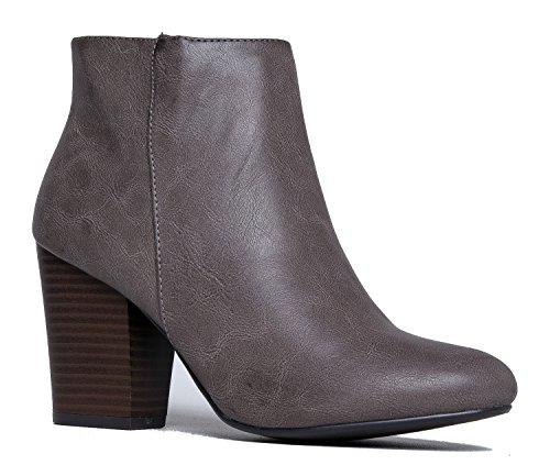 Bone Wing Tip - Vegan Leather Round Toe-Classic Zipper Closure -Wood High Heel Ankle Boot 7