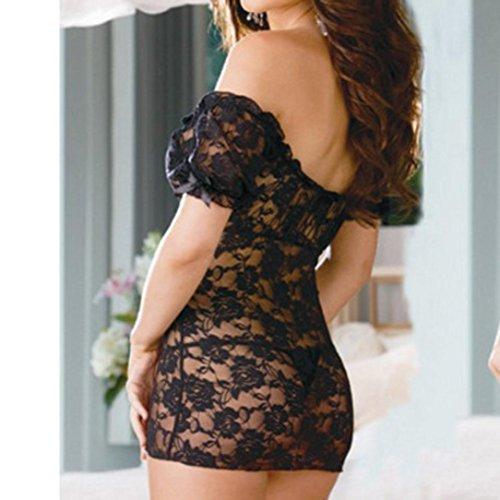 erotica riguarda tuta maniche da Nero corta camicia Lingerie a sexy manica a pigiama notte corte in quanto spalle da Lingerie con scoperte lace notte Subfamily intimo l'abbigliamento qxa8F1wta
