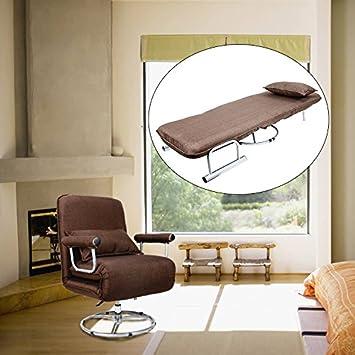 CO-Z Sillón Plegable y Giratorio 360° Cama Convertible Sofá/Silla Individual Tumbona Grande Ajustable para Dormir 5 Posiciones