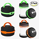 LED Camping Lantern - Camping Lantern 2 Pack Led Lantern Mini LED camping lights flashlights,Collapsible Portable Waterproof Tent Light Emergency light (Green&Orange) By LighTouch
