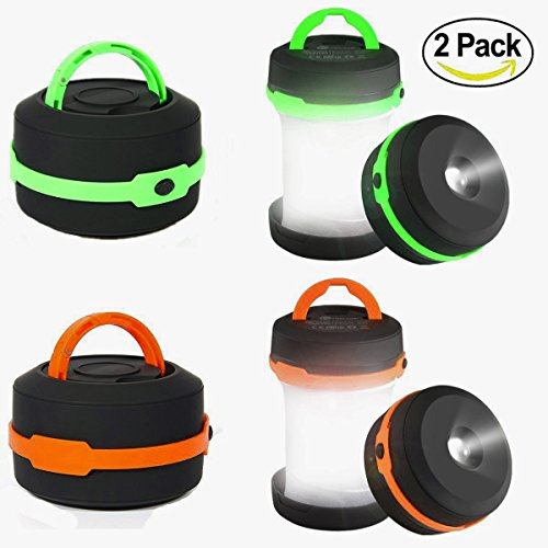 Camping Lantern 2 Pack Led Lantern Mini LED camping lights flashlights,Collapsible Portable Waterproof Tent Light Emergency light (Green&Orange) By LighTouch