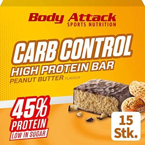 Body Attack Carb Control, Proteinriegel ohne Zuckerzusatz, Low Carb – High Protein, Eiweißriegel mit Whey, auch in der Mix-Box (Peanut Butter, 20 x 100g)