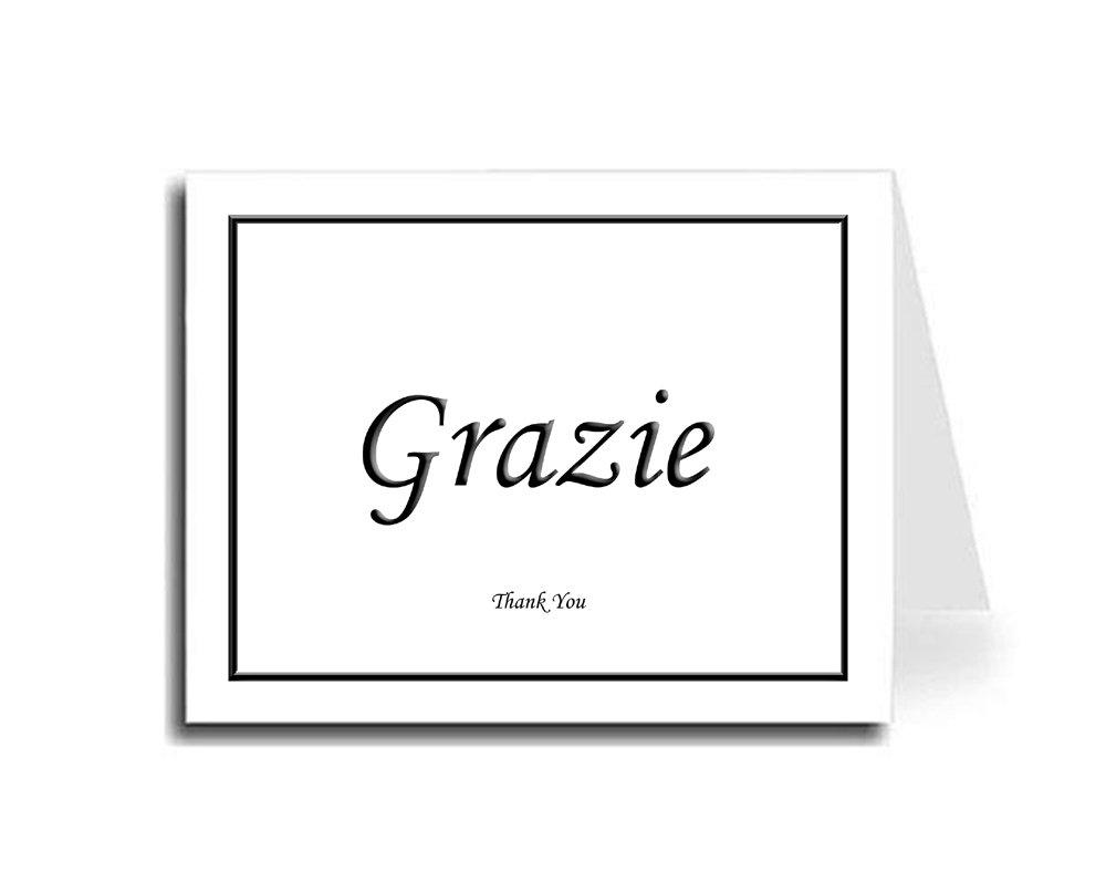 Artisan Decor Framed Black Italian Grazie & English Thank You Card Set of 10 (Monotype Corsiva Font)