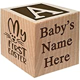 Baby's First Easter Gift 2018 - Personalized Block Easter Gift Custom Engraved Wooden Baby Block for Boy and Girl Choose Image Easter Basket Bunny Egg He is Risen My First Easter Cross