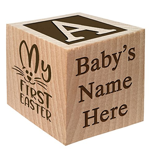 Baby's First Easter Gift 2017 - Personalized Block Easter Gift Custom Engraved Wooden Baby Block for Boy and Girl Choose Image Easter Basket Bunny Egg He is Risen My First Easter Cross