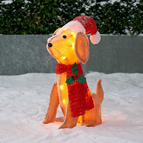 Holiday Christmas Pre lit Plush Pup Puppy Dog Santa Hat Mistletoe Scarf Indoor Outdoor Display Yard Art (Light Up Dog Decoration Christmas)