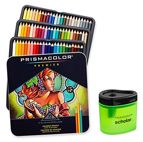 Prismacolor Premier Soft Core Colored Pencil  Set Of 72 Assorted Colors  3599Tn    Prismacolor Scholar Colored Pencil Sharpener  1774266