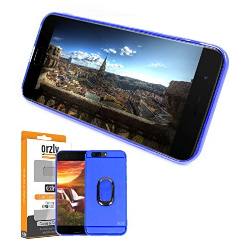 OnePlus 5 Slim Case, Orzly Slim-Stand Protective [Anti-Scratch] Skin Case Cover for OnePlus 5 in Blue with Integrated Ring Stand for Handy Grip & Display Stand (Orzly Slim Rim Case)
