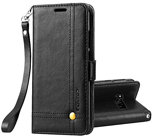 Retro Id Credit Card - Galaxy S8 Active Case, Ferlinso Elegant Retro Cowhide Leather with ID Credit Card Slot Holder Flip Cover Stand Magnetic Closure Case for Samsung Galaxy S8 Active-Black