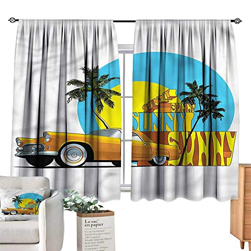 WinfreyDecor Retro Exclusive Home CurtainsVintage Car in City Miami Darkening and Thermal Insulating 72