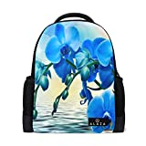 Women Cool Cute Laptop Backpack Travel Backpack with Orchid and Water School Bag Laptop Bookbag Daypack